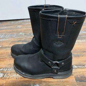 Black Harley Davidson Steel Toe Boot size 9 1/2 M